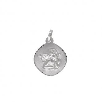 Médaille Carador Baptême Ange en or blanc 375/000