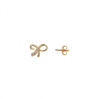 Boucle d'oreille en or 375/000 et oxyde de zirconium forme nœud