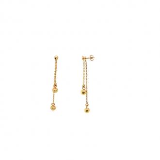 Boucles d'oreilles boules pendantes or 375/000