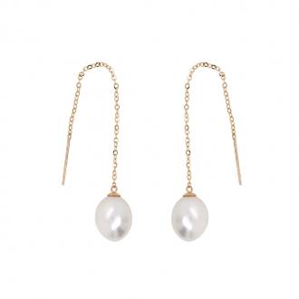 Boucles d'oreilles pendantes Carador perle de culture et or jaune 375/000