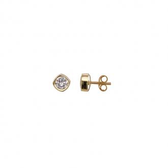 Boucles d'oreilles clous or 375/000 Oxyde de zirconium .0.3 cm CARADOR