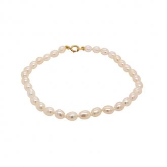 Bracelet de perles grain de riz 4 mm Carador en or 375/000