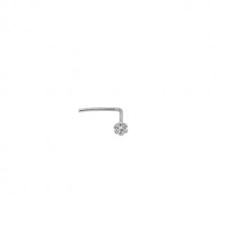 Piercing nasal Carador or blanc 375/000, oxyde de zirconium