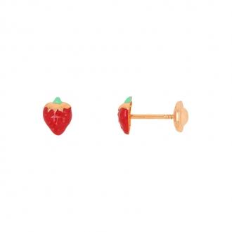 Boucles d'oreilles Carador fraise en or jaune 375/000 et laque rouge