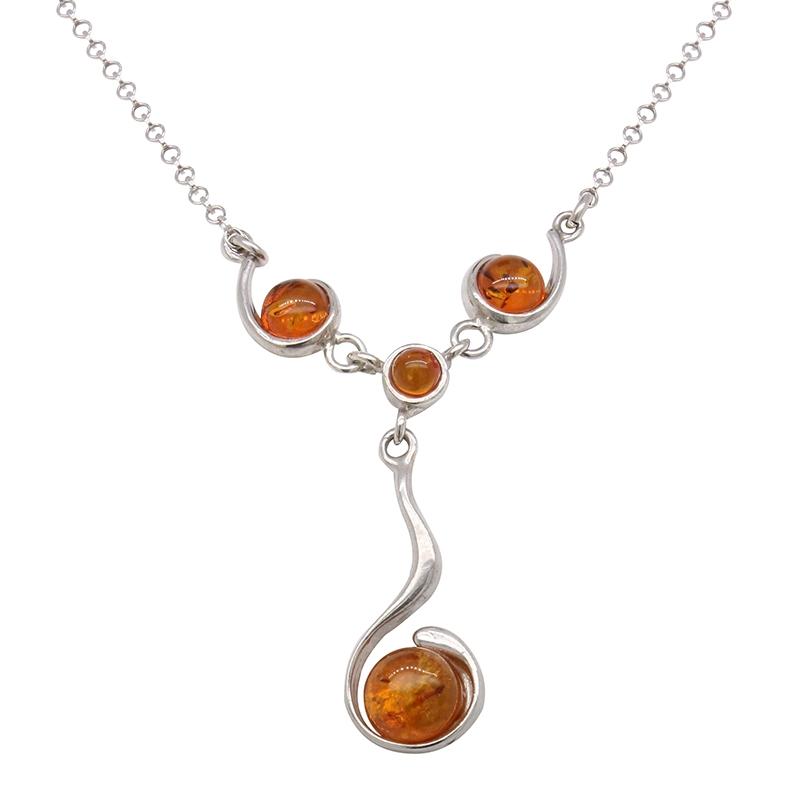 collier en ambre et argent femme
