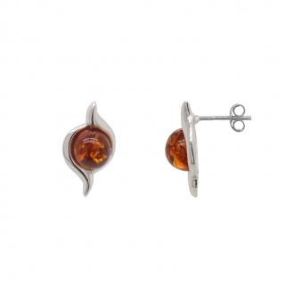 Boucles d'oreilles Clous Carador argent 925/000 et ambre