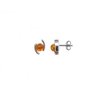 Boucles d'oreille argent 925/000 et ambre clous