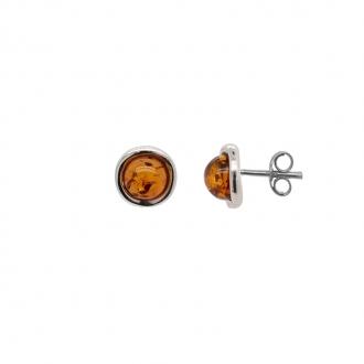 Boucles d'oreilles clous en argent 925/000 et ambre