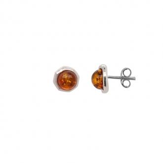 Boucles d'oreilles clous en argent 925/000 et ambre CARADOR