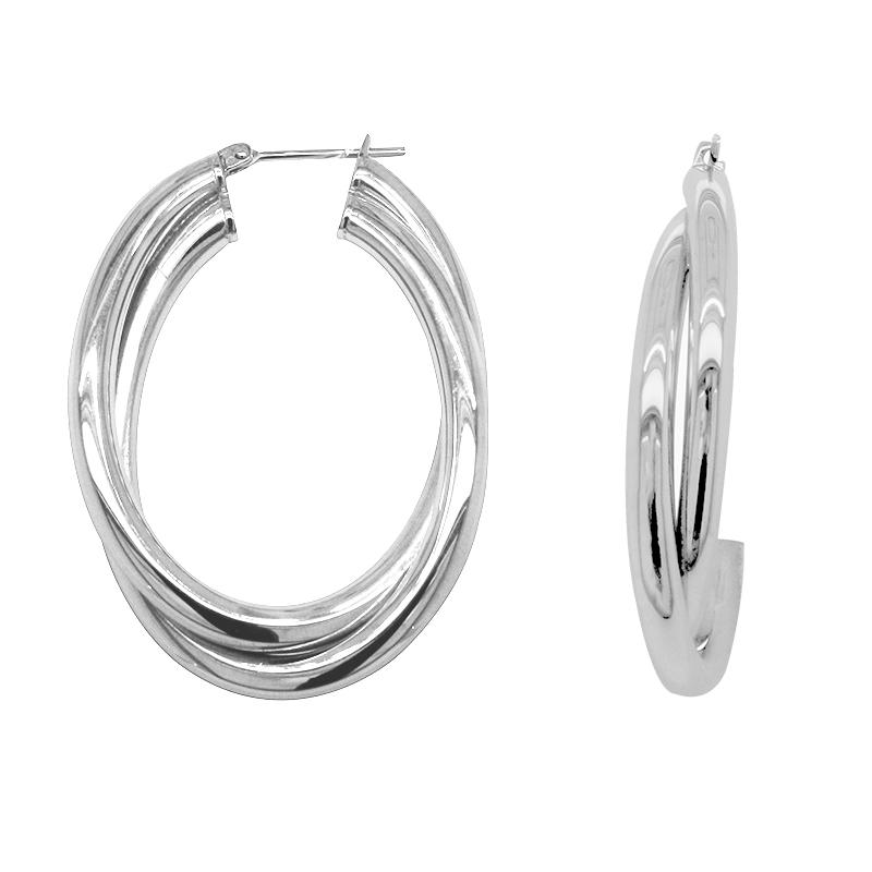 Boucles d'oreilles créoles acier Amporelle-WB216/N