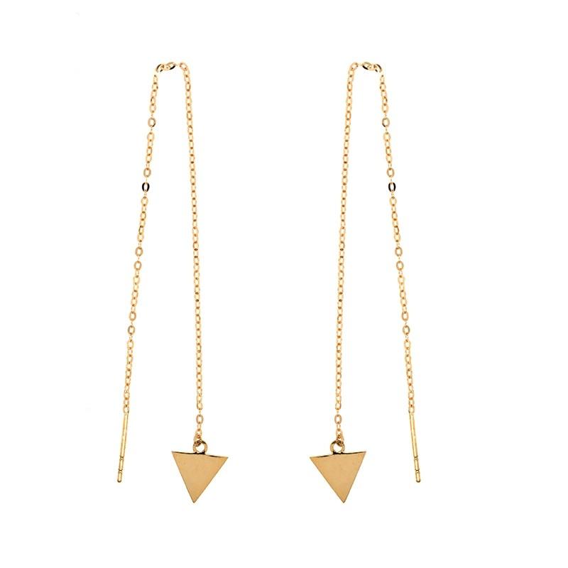 Boucles d'oreilles Carador chaine traversante triangle en or 375/000