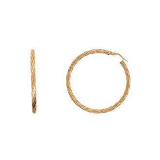 Boucles d'oreilles Carador créoles torsadées 45 mm en or 375/000