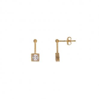 Boucles d'oreilles pendantes Carador carré suspendu en or 375/000 et oxydes de zirconium