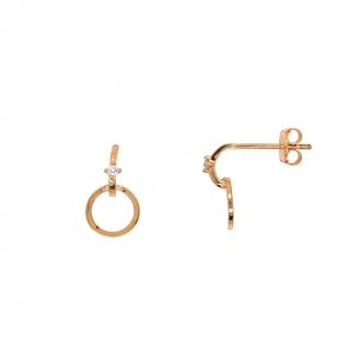 Boucles d'oreilles Carador cercle en or 375/000 et oxydes de zirconium FE4088