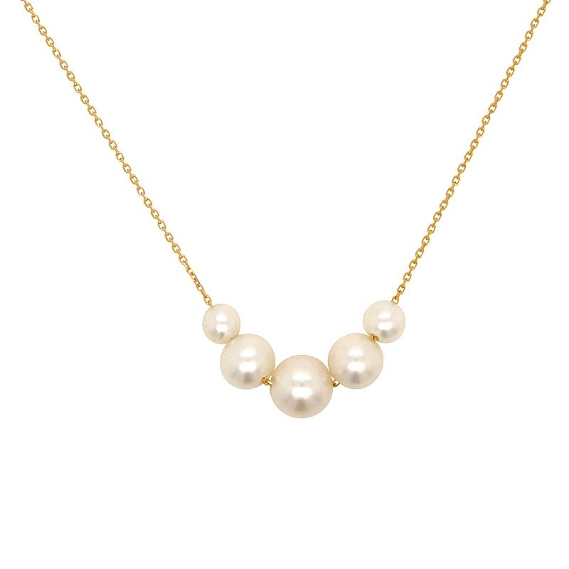 Collier Carador chute de perles en or jaune 375/000