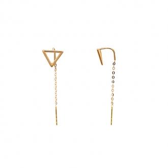 Boucles d'oreilles Carador chaine traversante et puce triangle en or 375/000