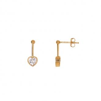 Boucles d'oreilles pendantes Carador coeur suspendu en or 375/000 et oxydes de zirconium