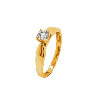 Bague Solitaire Or jaune 375/000 et diamant 0,4 cts