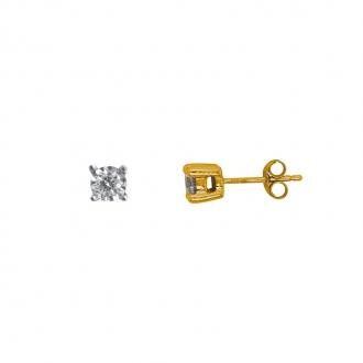 Boucles d'oreilles Carador solitaire or jaune 375/000, diamant 0,50 cts