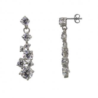 Boucles d'oreilles Carador pendantes or blanc 375/000, chute de zircons