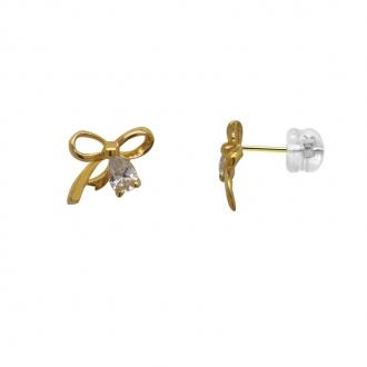 Boucles d'oreilles Carador nœud or jaune 375/000 et oxydes de zirconium
