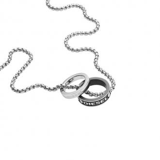 Collier DIESEL pendentif double anneaux DX1168040