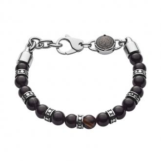 Bracelet Diesel en acier et perle d'agate noir DX1163040