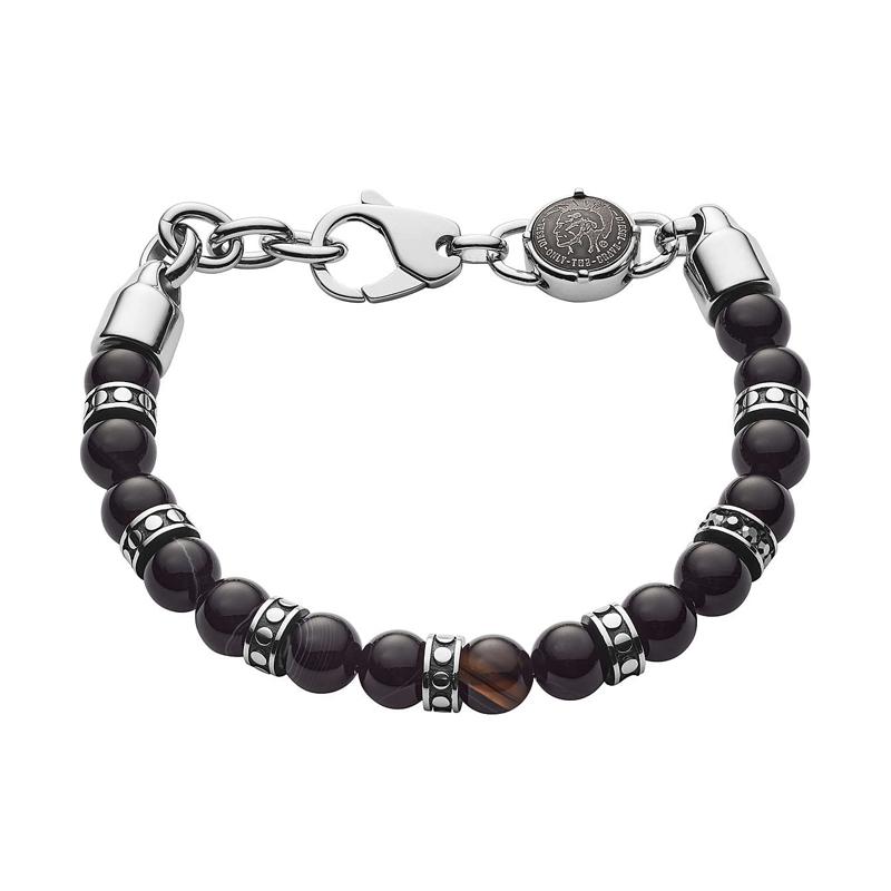 Bracelet Diesel en acier et perle d'agate noir - DX1163040