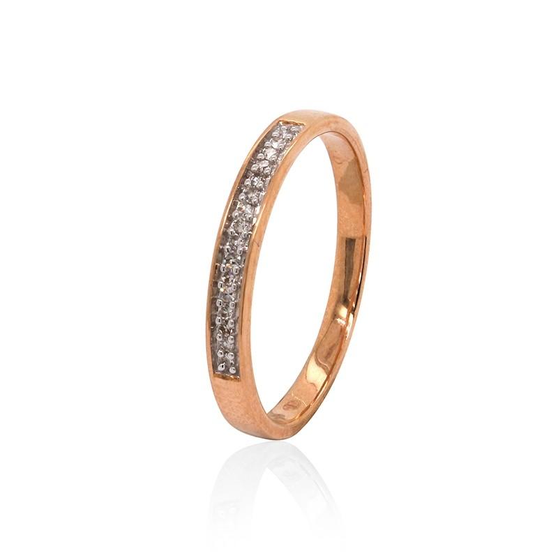 Bague Atelier 17 type alliance or rose 375/000 et diamants