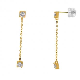 Boucles d'oreilles Carador modulables en or jaune 375/000 et oxyde de zirconium