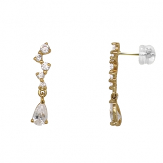 Boucles d'oreilles Carador pendantes avec oxydes de zirconium en or jaune 375/000
