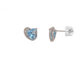 Boucles d'oreilles Carador fantaisie cœur en or blanc 375/000 et topaze
