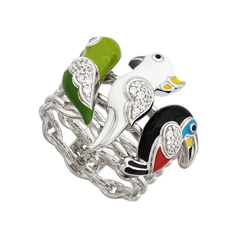Bague UNA STORIA argent 925/000 3 perroquets BG121143