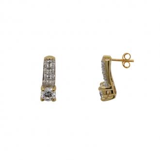 Boucles d'oreilles Solitaire accompagné Or 375/000e B97017