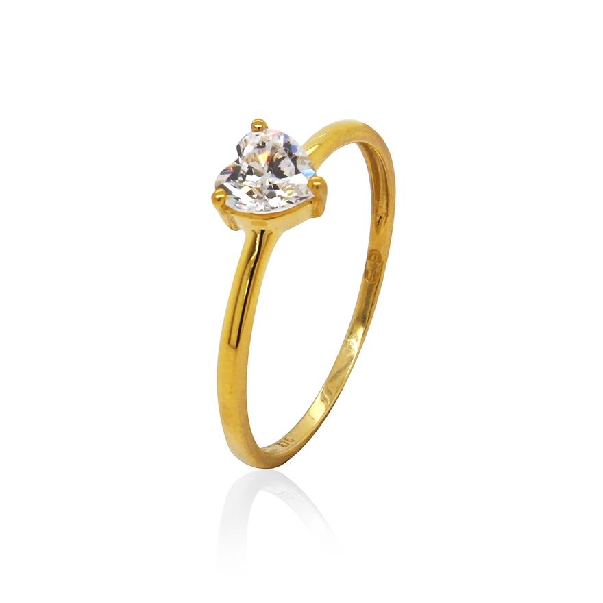 9b39cc05e87b9 Bague Carador or jaune 375/000 et oxyde de zirconium cœur pour FEMME