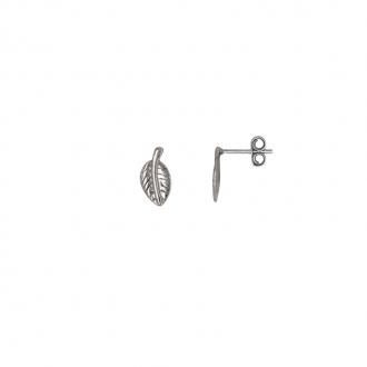 Boucles d'oreilles puces Carador motif infini feuille en argent 925/000
