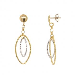 Boucles d'oreilles pendantes or 375/000 bicolore 9K3559G