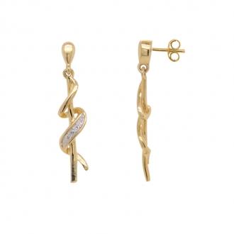 Boucles d'oreilles pendantes bicolores et diamants or 375/000