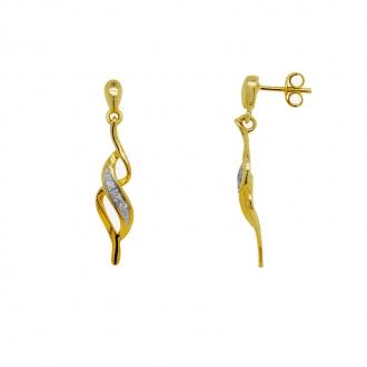 Boucles d'oreilles pendantes diamants et or 375/000