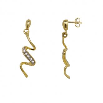 boucles d'oreilles ondulées or 375/000 et diamants