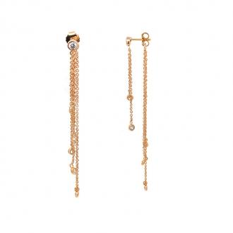 Boucles d'oreilles pendantes plaqué or et oxydes de zirconium de chez carador