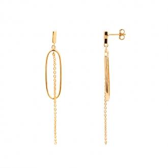 Boucles d'oreilles pendantes plaqué or forme ovale de chez carador