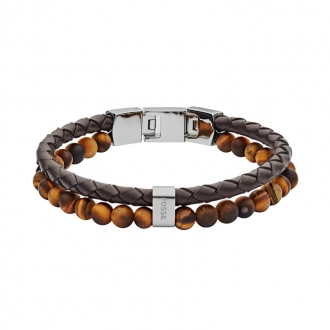 Bracelet FOSSIL en cuir marron