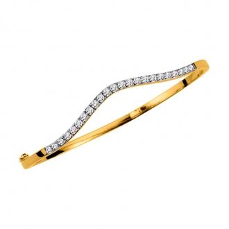 Bracelet jonc Carador en plaqué or et oxydes de zirconium