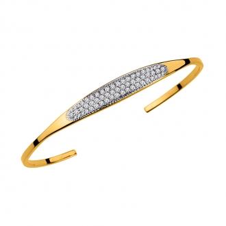 Bracelet jonc de chez Carador en plaqué or et oxydes de zirconium