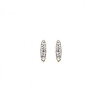 Boucles d'oreilles pendantes baguette de chez CARADOR en plaqué or et oxydes de zirconium