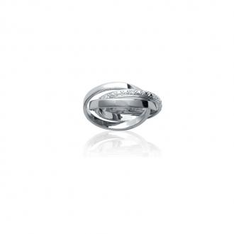 Bague triple anneaux et oxyde zirconium en argent 925/000 de chez Carador