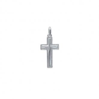 Pendentif croix en argent 925/000 avec contours travaillés