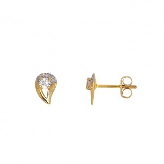 Boucles d'oreilles Carador goutte or jaune et blanc 375/000 et oxyde de zirconium