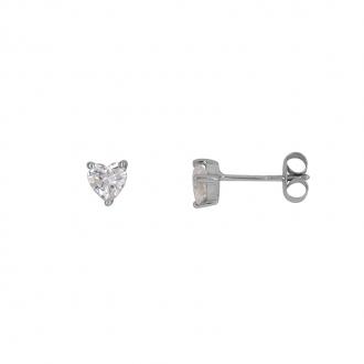 Boucles d'oreilles clous Carador or blanc 375/000 et oxyde de zirconium cœur